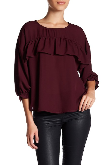 ruffle maroon shirt